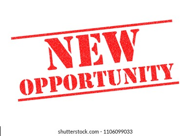 NEW OPPORTUNITY red Rubber Stamp over a white background.
