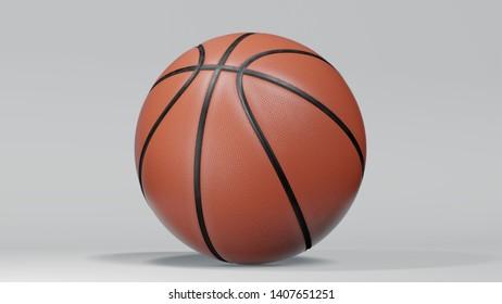 New orange basketball isolated on white background. 3d rendering