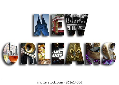 New Orleans illustration with assorted famous landmarks and local imagery