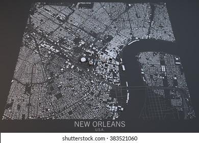 New Orleans map, satellite view, Louisiana, Usa