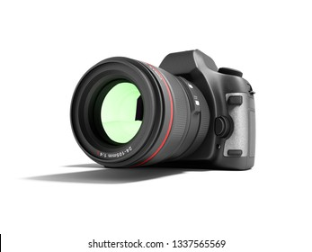 New professional zoom camera 3d render on white background with shadow