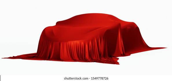 New racing design car covered with red cloth. 3d rendering illustration