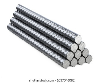New reinforcements steel bars stack. 3d illustration isolated on white background