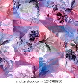 New seamless wallpaper - watercolor bouquets. Flower pattern is relevant for the design of clothing and premises. Summer mood and geometric background are multilayered squaresof bright blue and pink