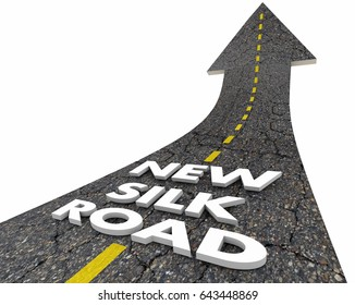 New Silk Road China Asia Trade Route Words 3d Illustration