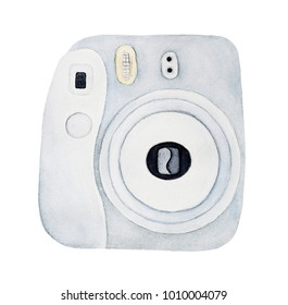 New small instant camera drawing. Single object, square format, white color, top view. Hand drawn watercolour graphic on white background, isolate. Symbol of modern culture, shutterbug, stylish hobby.