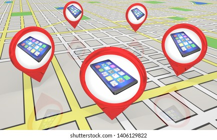 New Smart Phone Cell Store Locations Map Pins 3d Illustration