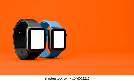 new smart watch mockup 3D rendering with orange background illustration in the studio light with blank screen for artwork and text