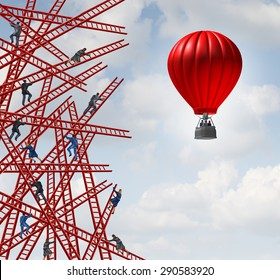 New strategy and independent thinker symbol and new innovative thinking leadership concept as a group of people climbing ladders in confusing directions with one team of employees in a red balloon.