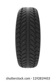 New Studded Winter Tire Isolated on White Background. Front View. Snow Spiked Tyre Render. 3D Illustration.