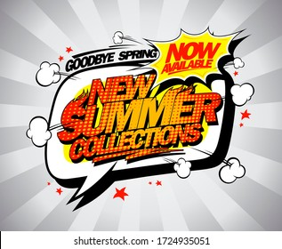 New summer collections advertising poster, coming soon poster, rasterized version