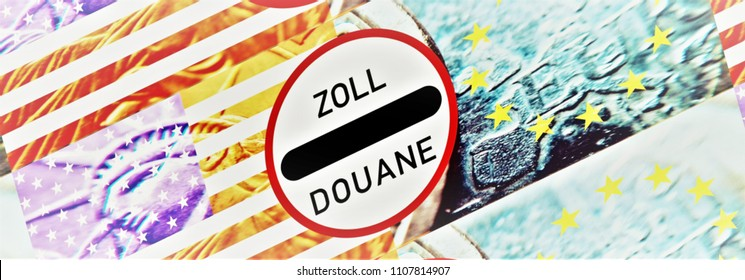 New tariffs between the USA and the EU -  The sign duty / douane in the middle between the American and European flag. Background translucent: coins,