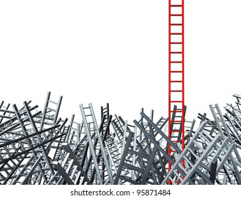 New thinking as an innovative good idea and solution to a business problem as a red ladder standing out from a group of confused grey ladders as a financial icon of opportunity from obstacles.