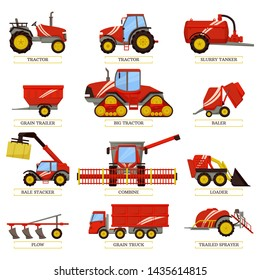New tractors slurry tanker grain trailer or truck small baler bale stacker big combine compact loader trailed sprayer and plow rasters agricultural machinery