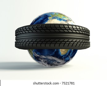new tyre around the world on isolated white background