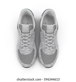 New unbranded running shoe, sneaker or trainer isolated on white. Top view. 3D illustration