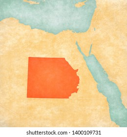 New Valley Governorate on the map of Egypt in soft grunge and vintage style, like old paper with watercolor painting.