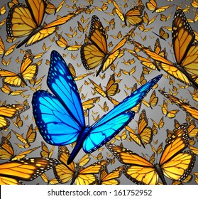 New vision standing out from the crowd business concept as a symbol of individuality and innovative thinking as a group of Monarch butterflies flying with a single special insect colored blue.