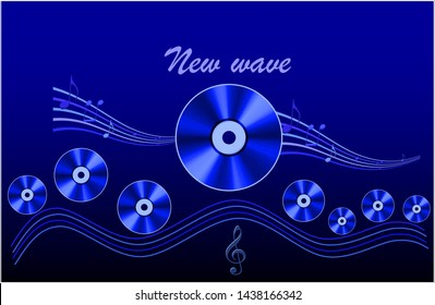 New wave - music genre. Cover for CD. In the picture with the sea waves and floating disks presented improvisation to the music genre - the new wave.