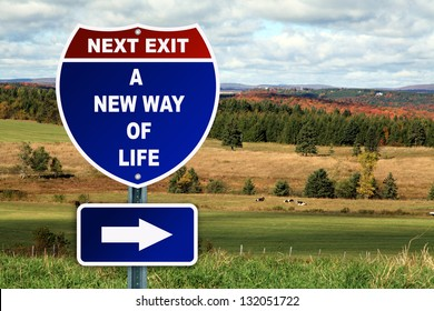 A new way of life road sign against a country landscape