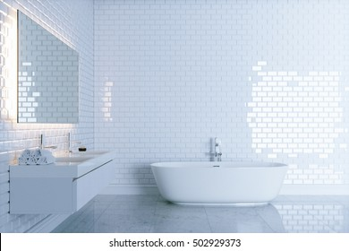 New white bathroom with big ceramic bathtub view 1 . 3d render