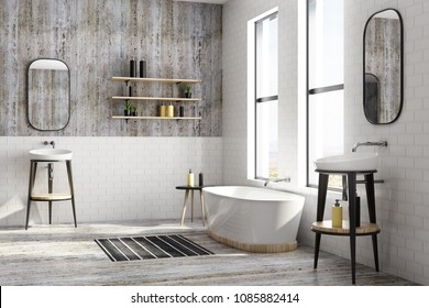 New white brick bathroom interior with window view and equipment. Design, style and real estate concept. 3D Rendering