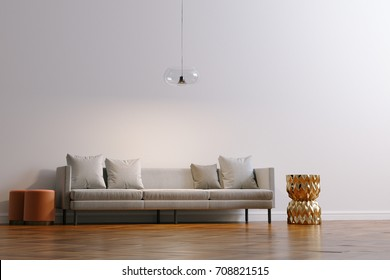 New white living room interior with minimalistic sofa on wood floor parquet 3d render