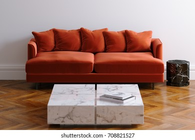 New white living room interior with velvet minimalistic sofa on wood floor parquet 3d render
