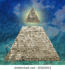 New World Order pyramid illustration including an all seeing eye.