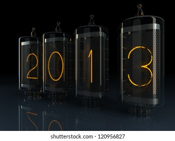 New year 2013 Nixie tube indicator of the numbers  of retro style.