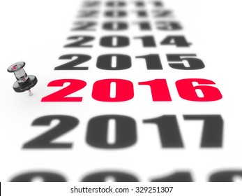 New year 2016 concept in 3d