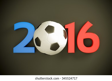 New Year 2016 and soccer ball
