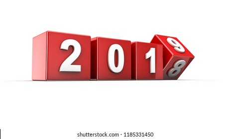 New year 2018 to 2019 concept in 3d