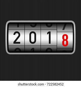 New Year 2018 design, odometer style with white and red numbers. Abstract background year of dog can be use for your artwork homepage or website. 2018 New Year 3D Odometer concept.
