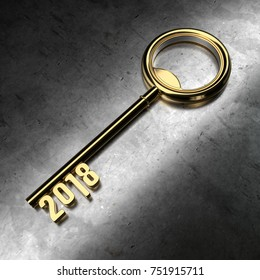 New Year 2018 with Gold Key - 3D Rendering