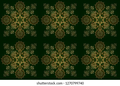 New Year 2018 holiday decoration. Fan shaped Christmas gold. Raster abstract seamless pattern with golden geometrical elements. Golden stylized stars on a green background.