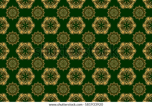 New Year 2018 holiday decoration. Golden stylized stars on a green background. Raster abstract seamless pattern with golden geometrical elements. Fan shaped Christmas gold.