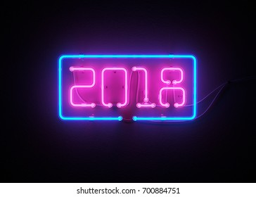 New year 2018 made from neon alphabet. 3D illustration