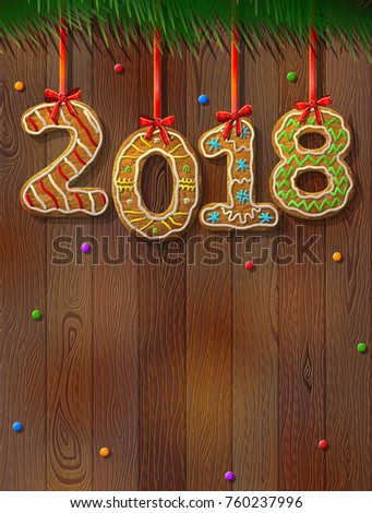61cc8bb6e13b8 New Year 2018 in shape of gingerbread against wood background. Year number  like cookies on ribbon. Best illustration for christmas