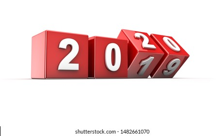New year 2019 to 2020 concept in 3d