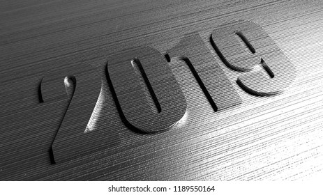 New year 2019 abstract steel background with digits. Bid number on gray metal texture.  3D rendering. Silver surface for Christmas design.
