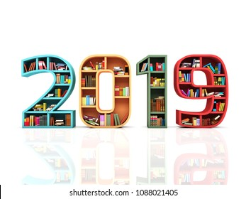 New Year 2019 with Books - 3D Rendered Image