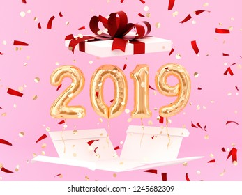 New year 2019 celebration. Gold foil balloons numeral 2019 and gift box on pink background. 3D rendering