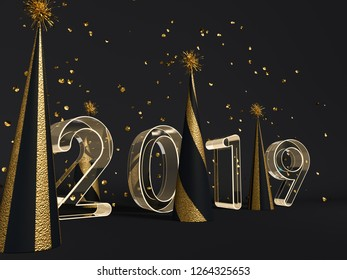 New year 2019 celebration. Gold foil balloons numeral 2019 and on black. 3D rendering