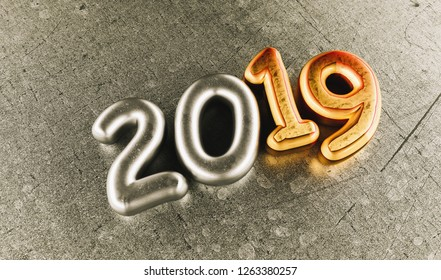 New year 2019 celebration. Silver numeral 2019 and Copper mettalic background. New Year's Eve, concept image - 3d rendering - Illustration
