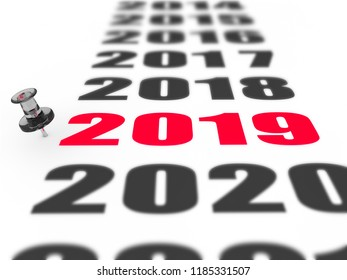 New year 2019 concept in 3d