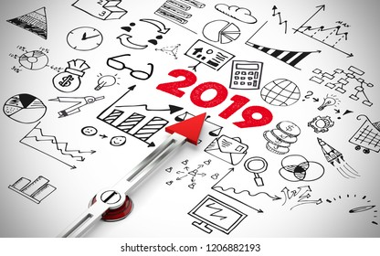 New Year 2019 concept with icons as New Year restart goals (3D Rendering)