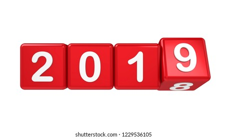 New Year 2019 Concept Isolated. 3D rendering
