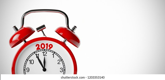 New Year 2019 concept on a red old fashioned alarm clock (3D Rendering)
