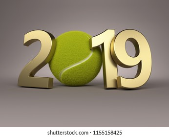 New Year 2019 Creative Design Concept with Tennis Ball - 3D Rendered Image